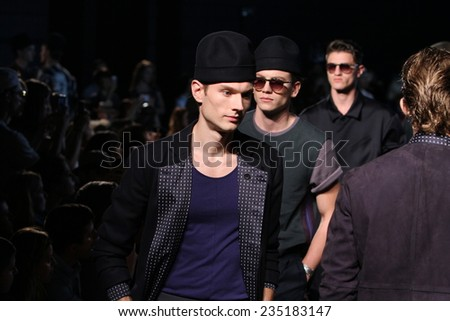 NEW YORK, NY - SEPTEMBER 06: models walk runway at the Robert Geller fashion show during Mercedes-Benz Fashion Week Spring 2015 at Pier 59 Stage C on September 6, 2014 in NYC.