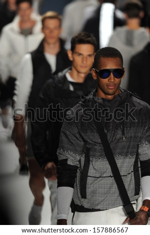 NEW YORK, NY - SEPTEMBER 06: Models walk the runway finale at the Nautica Men's Spring 2014 fashion show during Mercedes-Benz Fashion Week at Lincoln Center on September 6, 2013 in New York City.