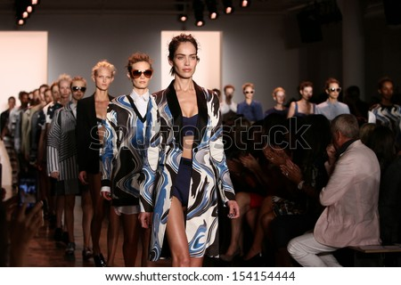 NEW YORK, NY - SEPTEMBER 06: Models walk the runway finale at the Peter Som Spring 2014 fashion show during Mercedes-Benz Fashion Week at Milk Studios on September 6, 2013 in New York City.  - stock photo
