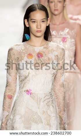 New York, NY - September 5, 2014: Mona Matsuoka walks the runway at Monique Lhuillier show during Mercedes-Benz Fashion Week Spring 2015 at The Theatre at Lincoln Center - stock photo