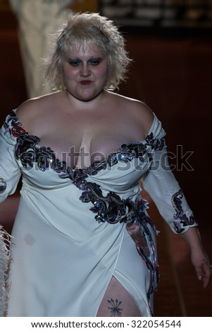 NEW YORK, NY - SEPTEMBER 17: Musician Beth Ditto walks the runway during the Marc Jacobs Spring/Summer 2016 fashion show at Ziegfeld Theater on September 17, 2015 in New York City. - stock photo