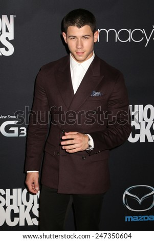 NEW YORK, NY - SEPTEMBER 9, 2014: Nick Jonas attends Fashion Rocks at the Barclays Center on September 9, 2014 in New York.