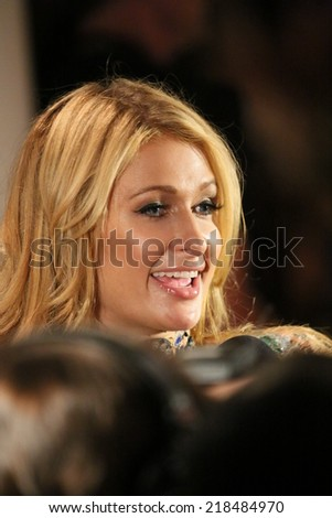 NEW YORK, NY - SEPTEMBER 10: Paris Hilton attends The Blonds 2015 fashion show at Milk Studios on September 10, 2014 in New York City. - stock photo