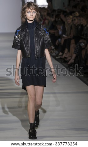 New York, NY - September 15, 2015: Peyton Knight walks the runway at Diesel Black Gold Spring Summer 2016 fashion show during New York Fashion Week at The Corner Building, 23 Wall Street - stock photo