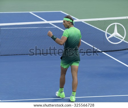 New York, NY - September 2, 2015: Rafael Nadal of Spain reacts during 2nd round match against BDiego Schwartzman of Argentina at US Open Championship - stock photo