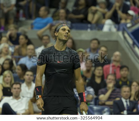 New York, NY - September 4, 2015: Rafael Nadal of Spain reacts during 3rd round match against Fabio Fognini of Italy at US Open Championship - stock photo