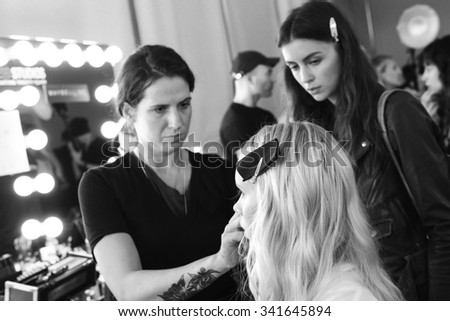 New York, NY - September 11, 2015: Sally Jonsson prepares backstage for the Custo Barcelona Spring 2016 fashion show during New York Fashion Week at Pier 59 Studios, Chelsea