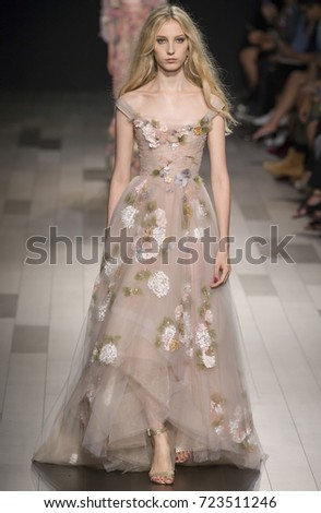 NEW YORK, NY - September 13, 2017: Sasha Komarova walks the runway at the Marchesa Spring Summer 2018 fashion show during New York Fashion Week