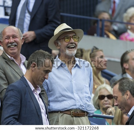 New York, NY - September 11, 2015: Sean Connery attends match between Marin Cilic & Novak Djokovic at US Open Championship on Ash stadium