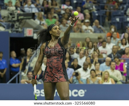 New York, NY - September 4, 2015: Serena Williams of USA serves during 3rd round match against Bethanie Mattek-Sands of USA at US Open Championship - stock photo