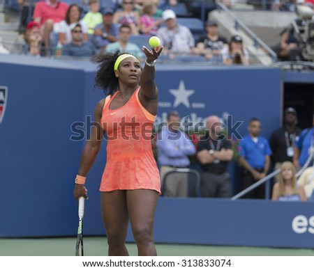 New York, NY - September 6, 2015: Serena Williams of USA serves during 4th round against Madison Keys of USA at US Open Championship - stock photo