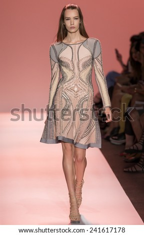 New York, NY - September 6, 2014: Taya Ermoshkina walks the runway at Herve Leger show during Mercedes-Benz Fashion Week Spring 2015 at The Salon at Lincoln Center