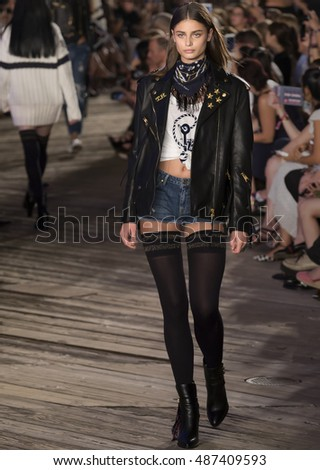 NEW YORK, NY - SEPTEMBER 09, 2016: Taylor Hill walks the runway at Tommy Hilfiger Women's Fashion Show during New York Fashion Week at Pier 19