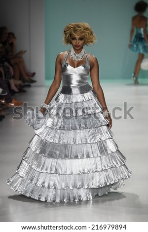 NEW YORK, NY - SEPTEMBER 10: TV Personality/Model Cynthia Bailey walks the runway at Betsey Johnson during Mercedes-Benz Fashion Week Spring 2015 on September 10, 2014 in New York City.  - stock photo