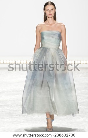 New York, NY - September 5, 2014: Vasilisa Pavlova walks the runway at Monique Lhuillier show during Mercedes-Benz Fashion Week Spring 2015 at The Theatre at Lincoln Center - stock photo