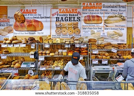 NEW YORK, NY -19 SEPTEMBER 2015- Zabars is a specialty food store located on Broadway on the Upper West Side of Manhattan. It is famous for its deli and smoked fish products. - stock photo