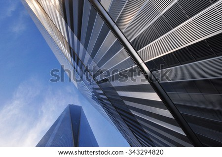 NEW YORK, NY, USA: A View of the World Trade Center Tower in Downtown Manhattan - stock photo