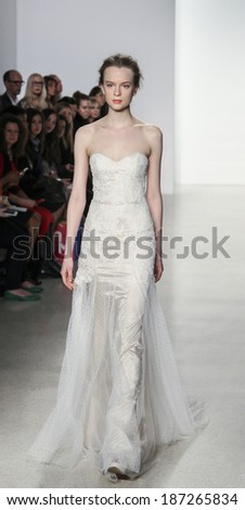 New York, NY, USA - April12, 2014: A model walks the runway for the Christos collection by Amsale during New York International Bridal Week at the EZ-Studios, Manhattan