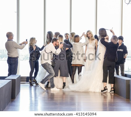 New York, NY, USA - April 15, 2016: A models prepare backstage for RIVINI & Alyne Spring 2017 Bridal Collection by Rita Vinieris at The Standard, High Line during New York International Bridal week - stock photo