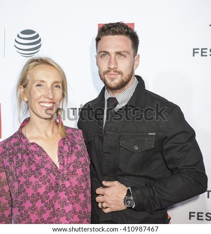 New York, NY, USA - April 21, 2016: Actor Aaron Taylor-Johnson and Sam Taylor-Johnson attend the 'Taxi Driver' 40th Anniversary Celebration during 2016 Tribeca Film Festival at The Beacon Theatre, NYC