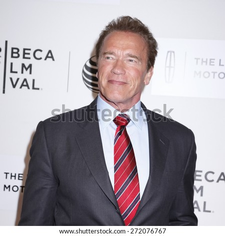 New York, NY, USA - April 22, 2015: Actor Arnold Schwarzenegger attends the World premiere Narrative of Maggie during the 2015 Tribeca Film Festival at BMCC Tribeca PAC, Manhattan