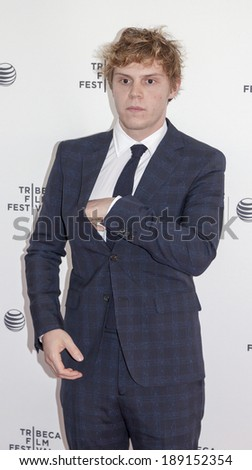 New York, NY, USA - April 24, 2014: Actor Evan Peters attends the 'Palo Alto' Premiere during the 2014 Tribeca Film Festival at the SVA Theater in New York City