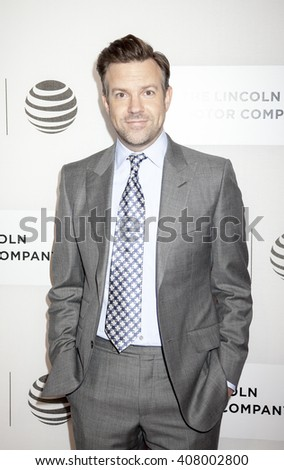 New York, NY, USA - April 14, 2016: Actor Jason Sudeikis attends 'The Devil And The Deep Blue Sea' premiere during the 2016 Tribeca Film Festivalat at the John Zuccotti Theater at BMCC Tribeca PAC - stock photo