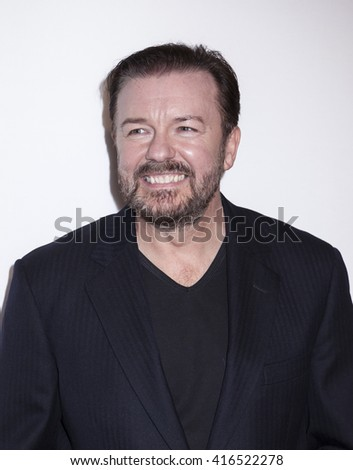 New York, NY, USA - April 22, 2016: Actor Ricky Gervais attends the 'Special Correspondets' premiere during the 2016 Tribeca Film Festival at the John Zuccotti Theater at BMCC Tribeca PAC, NYC - stock photo
