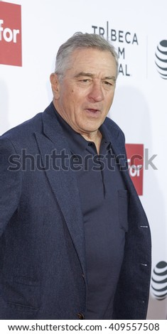 New York, NY, USA - April 21, 2016: Actor Robert De Niro attends the 'Taxi Driver' 40th Anniversary Celebration during the 2016 Tribeca Film Festival at The Beacon Theatre, NYC - stock photo