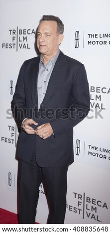 New York, NY, USA - April 20, 2016: Actor Tom Hanks attends the 'A Hologram For The King' premiere during the 2016 Tribeca Film Festival at the John Zuccotti Theater at BMCC Tribeca PAC - stock photo