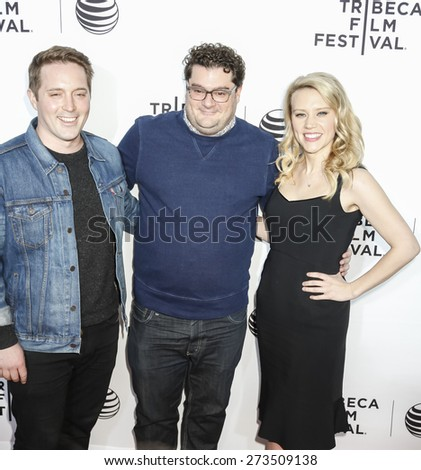 New York, NY, USA - April 15, 2015: Actors (L-R) Beck Bennett. Bobby Moynihan and Kate McKinnon attend world premiere of LIVE  FROM  NEW YORK during  2015 Tribeca Film Festival at The Beacon Theatre - stock photo