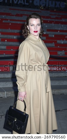 New York, NY, USA - April 14, 2015: Actress Debi Mazar attends the Vanity Fair Party during the 2015 Tribeca Film Festival at the New York State Supreme Court Building, Manhattan - stock photo