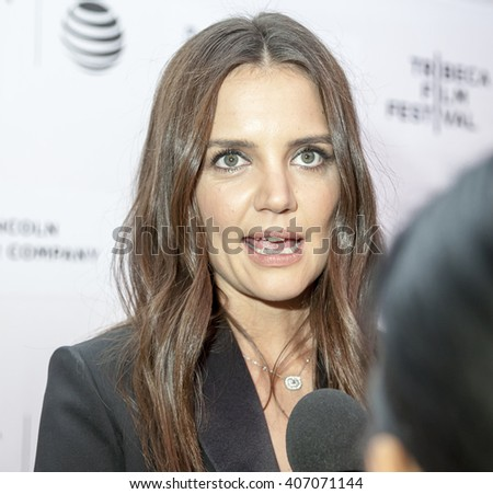 New York, NY, USA - April 15, 2016: Actress, director Katie Holmes attends the 'All We Had' premiere during the 2016 Tribeca Film Festivalat at the John Zuccotti Theater at BMCC Tribeca PAC - stock photo
