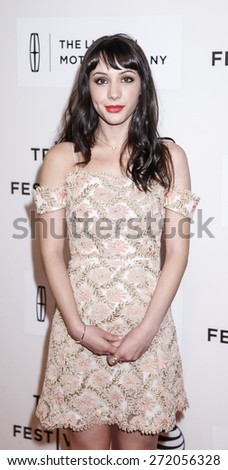 New York, NY, USA - April 22, 2015: Actress Hannah Marks attends the World premiere of Anesthesia during the 2015 Tribeca Film Festival at BMCC Tribeca PAC, Manhattan - stock photo