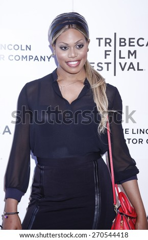 New York, NY, USA - April 17, 2015: Actress Laverne Cox attends the premiere of 'The Wannabe' during the 2015 Tribeca Film Festival at BMCC Tribeca PAC, Manhattan - stock photo