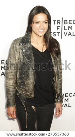 New York, NY, USA - April 15, 2015: Actress Michelle Rodriguez attends the world premiere of Live From New York during the 2015 Tribeca Film Festival at The Beacon Theatre, Manhattan - stock photo