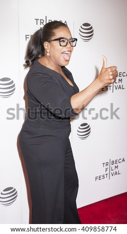 New York, NY, USA - April 20, 2016: Actress, producer Oprah Winfrey attends the 'Greenleaf' premiere during the 2016 Tribeca Film Festival at the John Zuccotti Theater at BMCC Tribeca PAC, NYC - stock photo