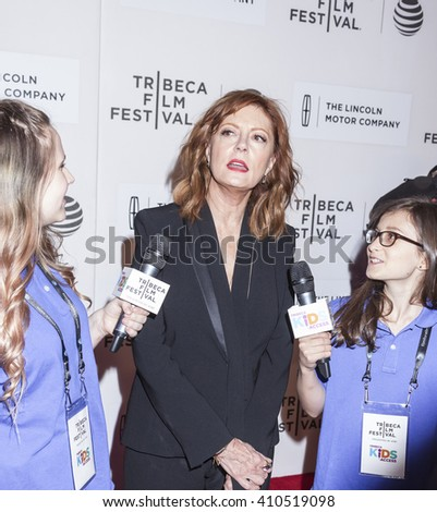 New York, NY, USA - April 19, 2016: Actress Susan Sarandon attends 'The Meddler' premiere during the 2016 Tribeca Film Festival at the John Zuccotti Theater at BMCC Tribeca Performing Arts Center, NYC - stock photo
