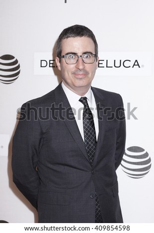 New York, NY, USA - April 22, 2016: Comedian John Oliver attends Tribeca Talks Storytellers: Tom Hanks with John Oliver during 2016 Tribeca Film Festival at John Zuccotti Theater at BMCC Tribeca PAC - stock photo
