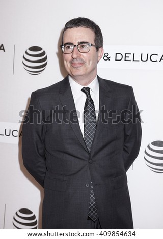 New York, NY, USA - April 22, 2016: Comedian John Oliver attends Tribeca Talks Storytellers: Tom Hanks with John Oliver during 2016 Tribeca Film Festival at John Zuccotti Theater at BMCC Tribeca PAC