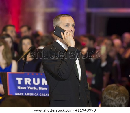 New York, NY USA - April 26, 2016: Corey Lewandowski attends Donald Trump speech during victory celebration after winning in 5 US states primary at Trump Tower on 5th Avenue - stock photo