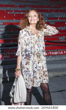 New York, NY, USA - April 14, 2015: Designer Diane von Furstenberg attends the Vanity Fair Party during the 2015 Tribeca Film Festival at the New York State Supreme Court Building - stock photo