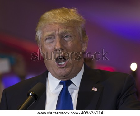 New York, NY USA - April 19, 2016: Donald Trump speaks during victory celebration after New York primary at Trump Tower on 5th Avenue - stock photo