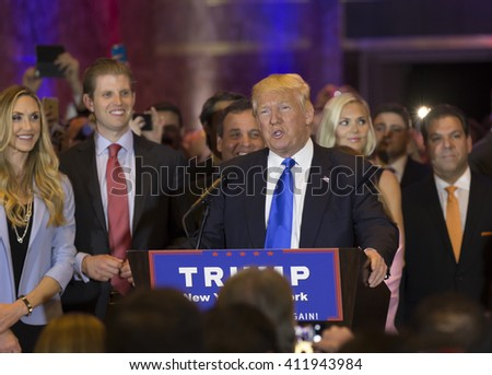 New York, NY USA - April 26, 2016: Donald Trump speaks during victory celebration after winning in 5 US states primary at Trump Tower on 5th Avenue - stock photo