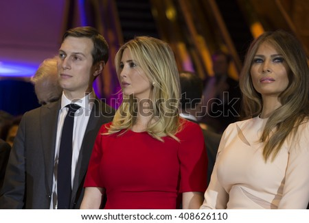 New York, NY USA - April 19, 2016: Jared Kushner, Ivanka Trump, Melania Trump attend Donald Trump victory celebration at Trump Tower on 5th Avenue