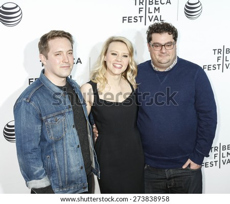 New York, NY, USA - April 15, 2015: (L-R) Beck Bennett, Kate McKinnon and Bobby Moynihan attend world premiere of 'Live From New York' during the 2015 Tribeca Film Festival at The Beacon Theatre - stock photo