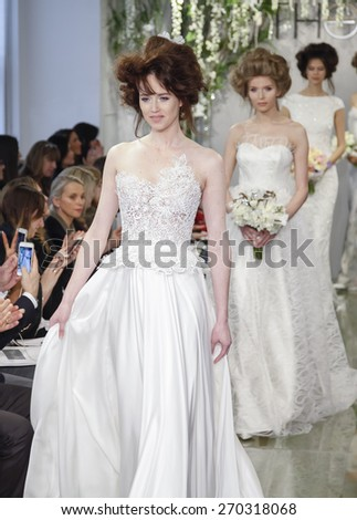 New York, NY, USA - April 16, 2015: Models walk runway for Theia Spring 2016 Bridal Collection at Theia Showroom during New York Bridal week, Manhattan - stock photo