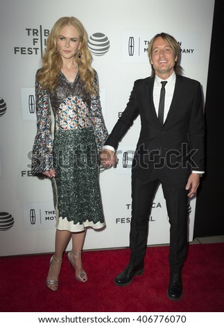 New York, NY USA - April 16, 2016: Nicole Kidman and Keith Urban attend premiere of The Family Fang movie during Tribeca Film Festival at BMCC