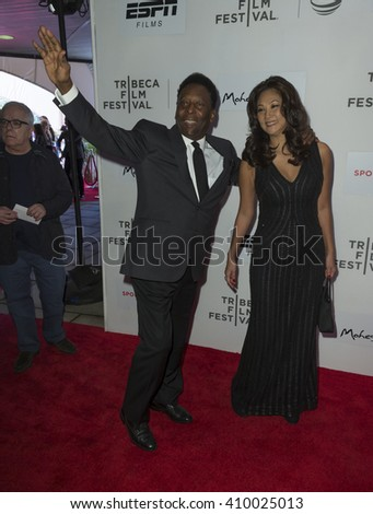 New York, NY USA - April 23, 2016: Pele and Marcia Aoki attend Tribeca Film Festival premiere of Pele: Birth of a Legend at BMCC