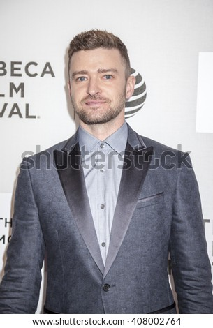 New York, NY, USA - April 14, 2016: Singer Justin Timberlake attends 'The Devil And The Deep Blue Sea' premiere during the 2016 Tribeca Film Festivalat at the John Zuccotti Theater at BMCC Tribeca PAC - stock photo